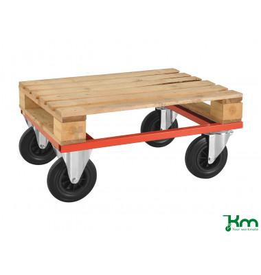 Palettenwagen rot bis 800 kg 2 Bockrollen 2 Lenkrollen 800x600x270mm KM217-H