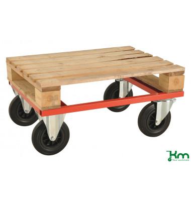 Palettenwagen rot bis 800 kg 2 Bockrollen 2 Lenkrollen mit Bremse 800x600x270mm KM217-HB