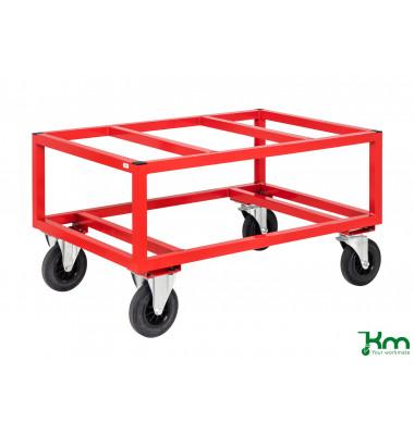 Palettenwagen rot bis 800 kg 2 Bockrollen 2 Lenkrollen 1200x800x650mm KM221