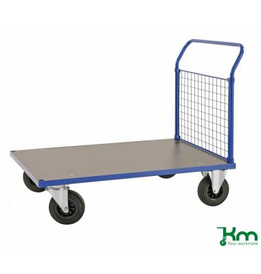 Plattformwagen Serie 200 KM232-2, 700x1083mm (BxL gesamt), bis 500kg belastbar, 2 Bockrollen, 2 Lenkrollen, blau
