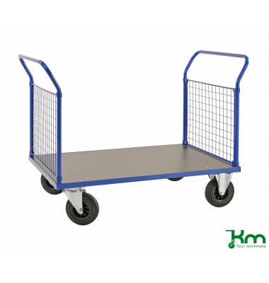 Plattformwagen Serie 200 KM233-2, 700x1166mm (BxL gesamt), bis 500kg belastbar, 2 Bockrollen, 2 Lenkrollen, blau