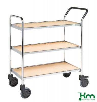 Tablettwagen buchenholz bis 150 kg 4 Lenkrollen 2 davon mit Bremse 900x500x990mm KM30CR