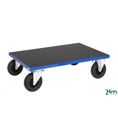 Plattformwagen Serie 300 KM330-2B, 700x1000mm (BxL gesamt), bis 500kg belastbar, 2 Bockrollen, 2 Lenkrollen, mit Bremse, blau