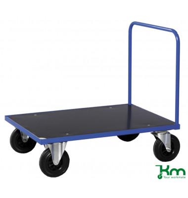 Plattformwagen Serie 300 KM331-2B, 700x1000mm (BxL gesamt), bis 500kg belastbar, 2 Bockrollen, 2 Lenkrollen, mit Bremse, blau