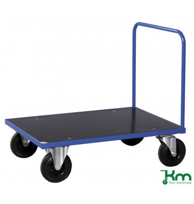 Plattformwagen Serie 300 KM331-3B, 800x1200mm (BxL gesamt), bis 500kg belastbar, 2 Bockrollen, 2 Lenkrollen, mit Bremse, blau