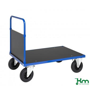 Plattformwagen Serie 300 KM332-3B, 800x1200mm (BxL gesamt), bis 500kg belastbar, 2 Bockrollen, 2 Lenkrollen, mit Bremse, blau