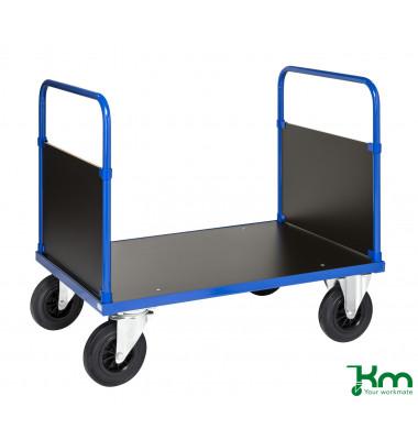 Plattformwagen Serie 300 KM333-2B, 700x1000mm (BxL gesamt), bis 500kg belastbar, 2 Bockrollen, 2 Lenkrollen, mit Bremse, blau