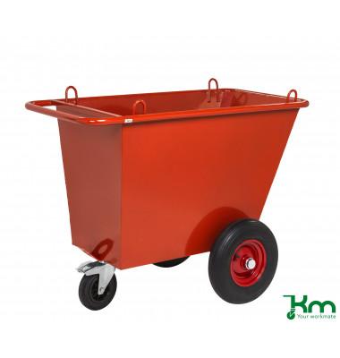 Müllsackständer rot bis 750 kg 1 Lenk- und 2 Bockrollen 1310x720x1000mm KM400PF