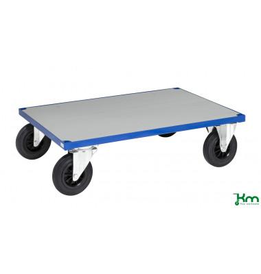 Plattformwagen Serie 400 KM430-3B, 800x1200mm (BxL gesamt), bis 500kg belastbar, 2 Bockrollen, 2 Lenkrollen, mit Bremse, blau