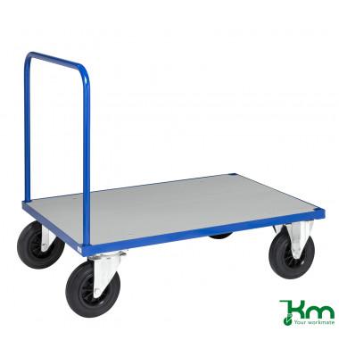 Plattformwagen Serie 400 KM431-3B, 800x1200mm (BxL gesamt), bis 500kg belastbar, 2 Bockrollen, 2 Lenkrollen, mit Bremse, blau