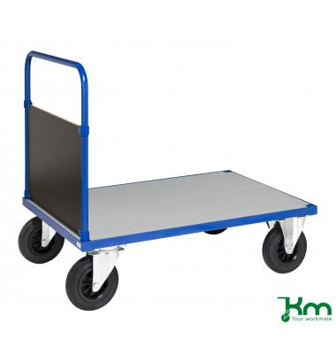Plattformwagen Serie 400 KM432-3B, 800x1200mm (BxL gesamt), bis 500kg belastbar, 2 Bockrollen, 2 Lenkrollen, mit Bremse, blau