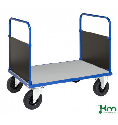 Plattformwagen Serie 400 KM433-3B, 800x1200mm (BxL gesamt), bis 500kg belastbar, 2 Bockrollen, 2 Lenkrollen, mit Bremse, blau