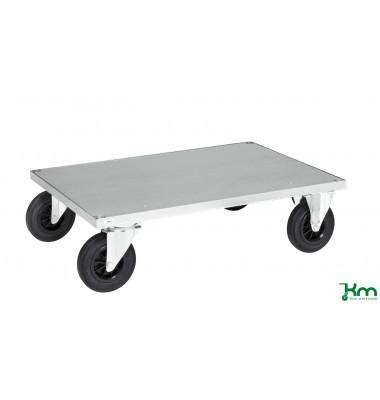 Plattformwagen Serie 600 KM630-2B, 700x1000mm (BxL gesamt), bis 500kg belastbar, 2 Bockrollen, 2 Lenkrollen, mit Bremse, silber