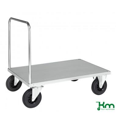 Plattformwagen Serie 600 KM631-3, 800x1200mm (BxL gesamt), bis 500kg belastbar, 2 Bockrollen, 2 Lenkrollen, silber