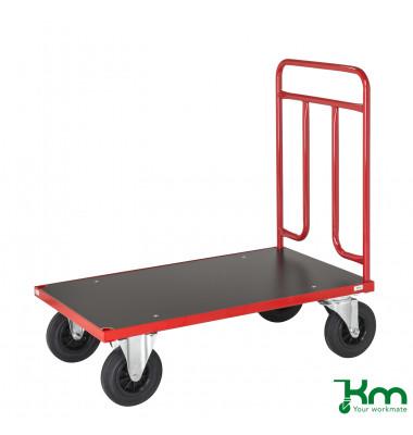 Plattformwagen Serie 700 KM731-4, 600x1000mm (BxL gesamt), bis 500kg belastbar, 2 Bockrollen, 2 Lenkrollen, rot
