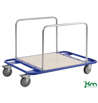 Scheibenwagen blau bis 150 kg 4 Lenkrollen 2 davon mit Bremse 1000x700x690mm KM839