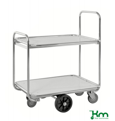 Kommissionierwagen verzinkt bis 300 kg 2 Bockrollen 4 Lenkrollen 900x630x1100mm KM8500-2M