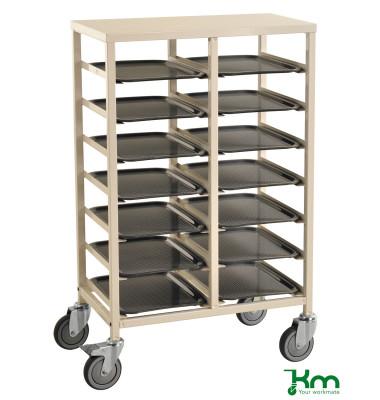 Tablettwagen weiß bis 150 kg 4 Lenkrollen 2 davon mit Bremse 720x430x1095mm KM882-14