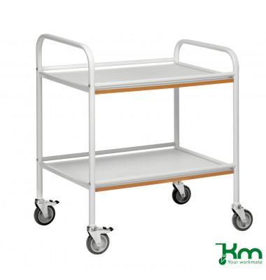 Tablettwagen weiß bis 100 kg 4 Lenkrollen 2 davon mit Bremse 765x520x895mm X2005