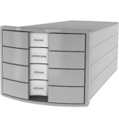 Schubladenbox Impuls 1012-11 lichtgrau/lichtgrau 4 Schubladen geschlossen