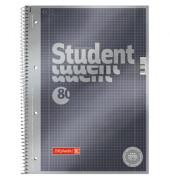 Collegeblock Student Premium DIN A4 kariert mit Rand innen/außen 90g/m² anthrazit metallic 80 Bl.