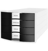 Schubladenbox Impuls 1012-32 weiß/schwarz 4 Schubladen geschlossen