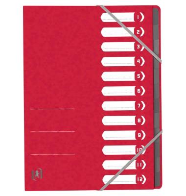 Ordnungsmappe TOP FILE+ DIN A4 390g/m² Colorspankarton rot 12 Fächer