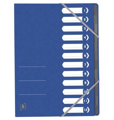 Ordnungsmappe TOP FILE+ DIN A4 390g/m² Colorspankarton blau 12 Fächer
