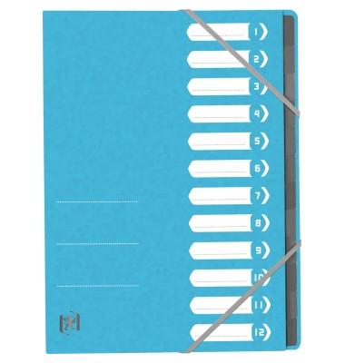 Ordnungsmappe TOP FILE+ DIN A4 390g/m² Colorspankarton hellblau 12 Fächer