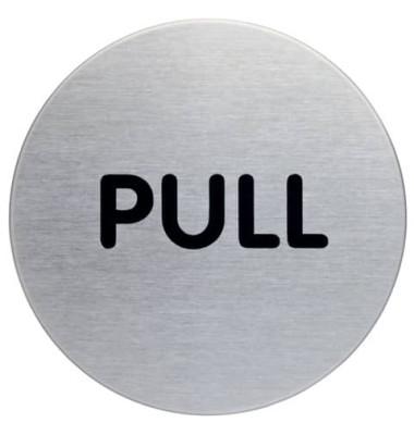 """Piktogramm """"Pull"""" rund metallic silber Ø 65mm"""