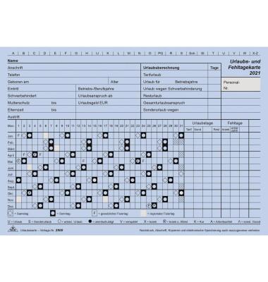 Urlaubs- und Fehltagekarten 2900/21-10 A5-quer blau für 2021 10 Stück