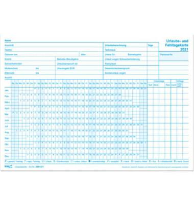 Urlaubs- und Fehltagekarten 2901/21-10 A5-quer tabellarisch für 2021 10 Stück