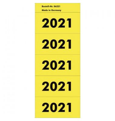 Jahreszahlen 2021 gelb 57x28mm selbstklebend 100 Stück