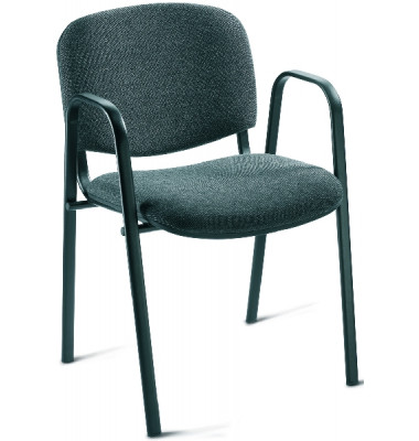 Besucherstuhl mit stabilem Gestell aus Stahllohr in schwarz