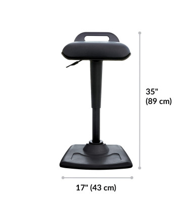 Arbeitsdrehstuhl ActiveSeat 400767, für ergonomisches Sitzen/Stehen, 43cm breit, höhenverstellbar, fertig vormontiert, schwarz