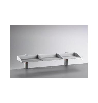 Ablagebord 120cm 1Regal grau 2 Universalzwingen 18x74mm+Halter