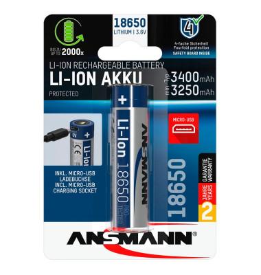 Akku 18650 Micro-USB 18650 3.400 mAh