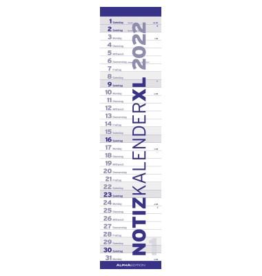 Streifenkalender XL 10.2498 1Monat/1Seite 15x64cm 2022