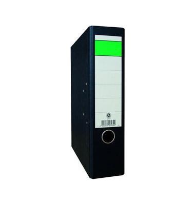 Ordner A4 Wolkenmarmor schwarz 80mm breit grüner Balken