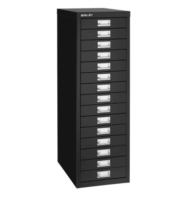 Schubladenschrank MultiDrawer™ 39er Serie L3915833, Stahl, 15 Schubladen (Vollauszug), A4, 27,9 x 86 x 38 cm, schwarz