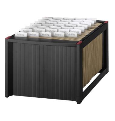 Hängemappenbox H61100 schwarz bis 40 Mappen befüllt mit 25 Mappen stapelbar