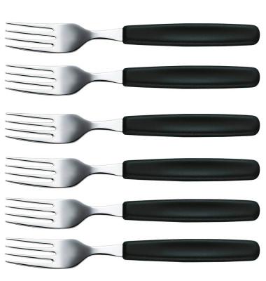 Gabel 20cm silber/schwarz Stahl/Kunststoff 6 Stück