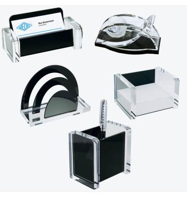 Schreibtischset acryl exklusiv glasklar/schwarz 5-teilig