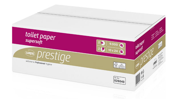 Wepa Toilettenpapier 026040 Prestige 2-lagig 9000 Einzelblatt