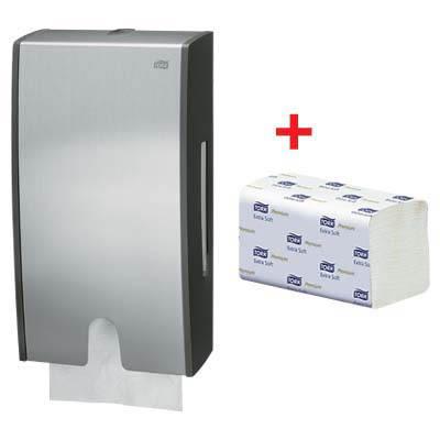 Tork Set Papierhandtuch-Spender 451000 + Papierhandtücher