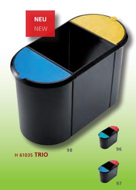 Helit Papierkorb Trio 20 + 9 + 9 Liter schwarz-blau-gelb