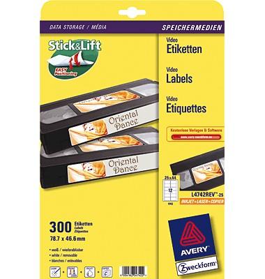 Etiketten und Aufkleber für Videokassetten