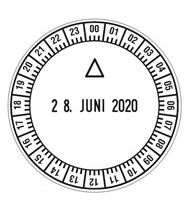 Stempel mit Datum und Uhrzeit
