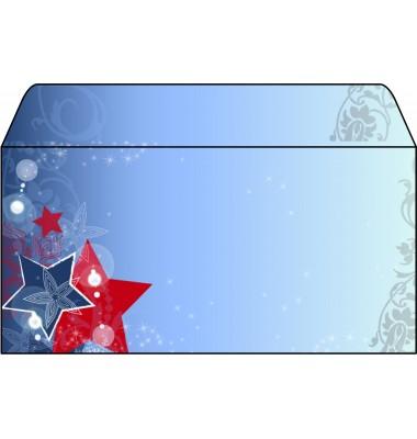 Briefumschlag Weihnachten DIN lang Sterne