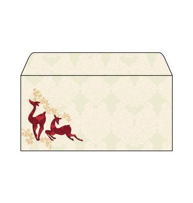 Briefumschlag Weihnachten DIN lang Rentiere